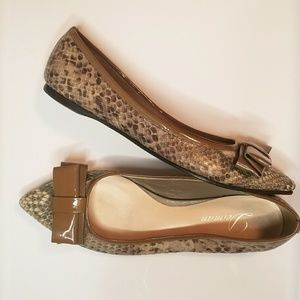 Delman snakeskin flats with patent leather bow